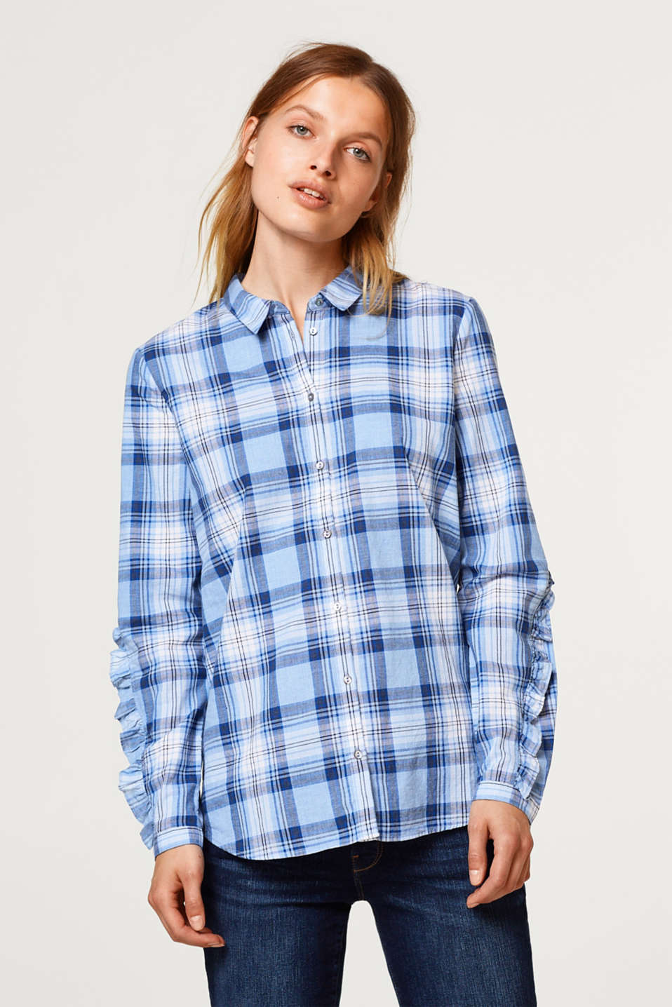 Esprit - Checked shirt with flounce details, 100% cotton