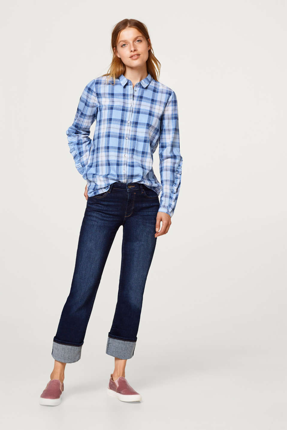Checked shirt with flounce details, 100% cotton