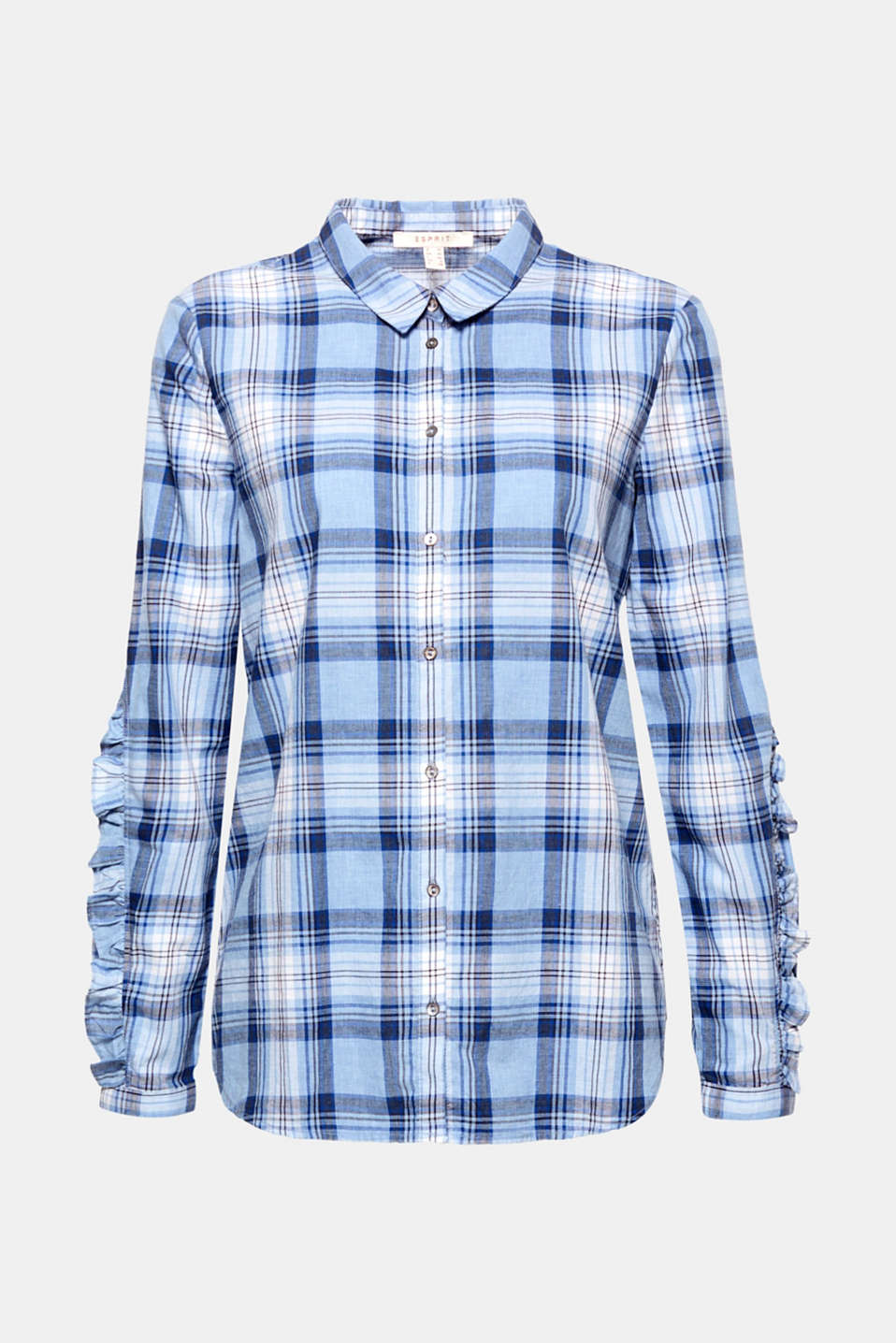 Romantic flounces give this check shirt in soft cotton a feminine edge!
