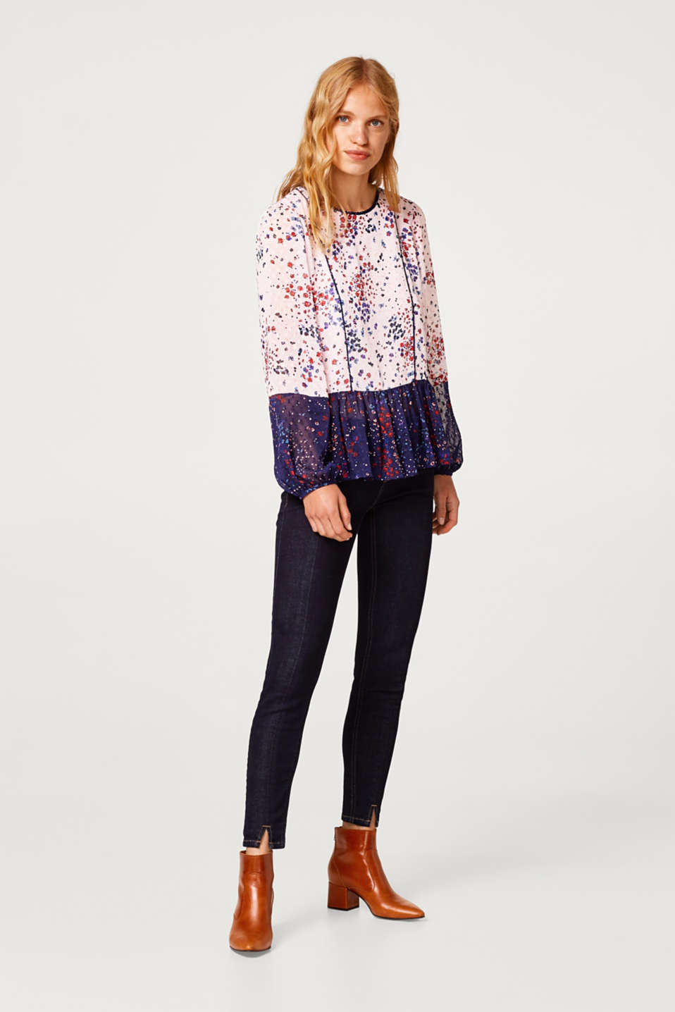 Chiffon tunic blouse with a floral print