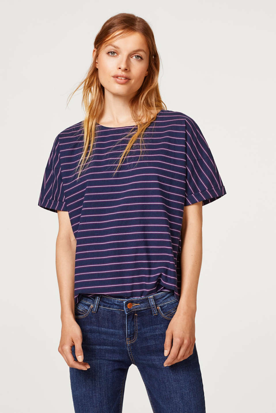Esprit - Striped blouse top, 100% cotton