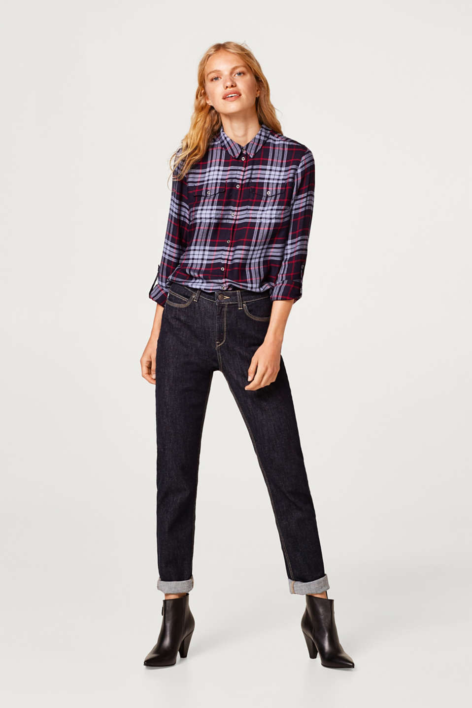 Esprit - Check blouse with studs and turn-up sleeves