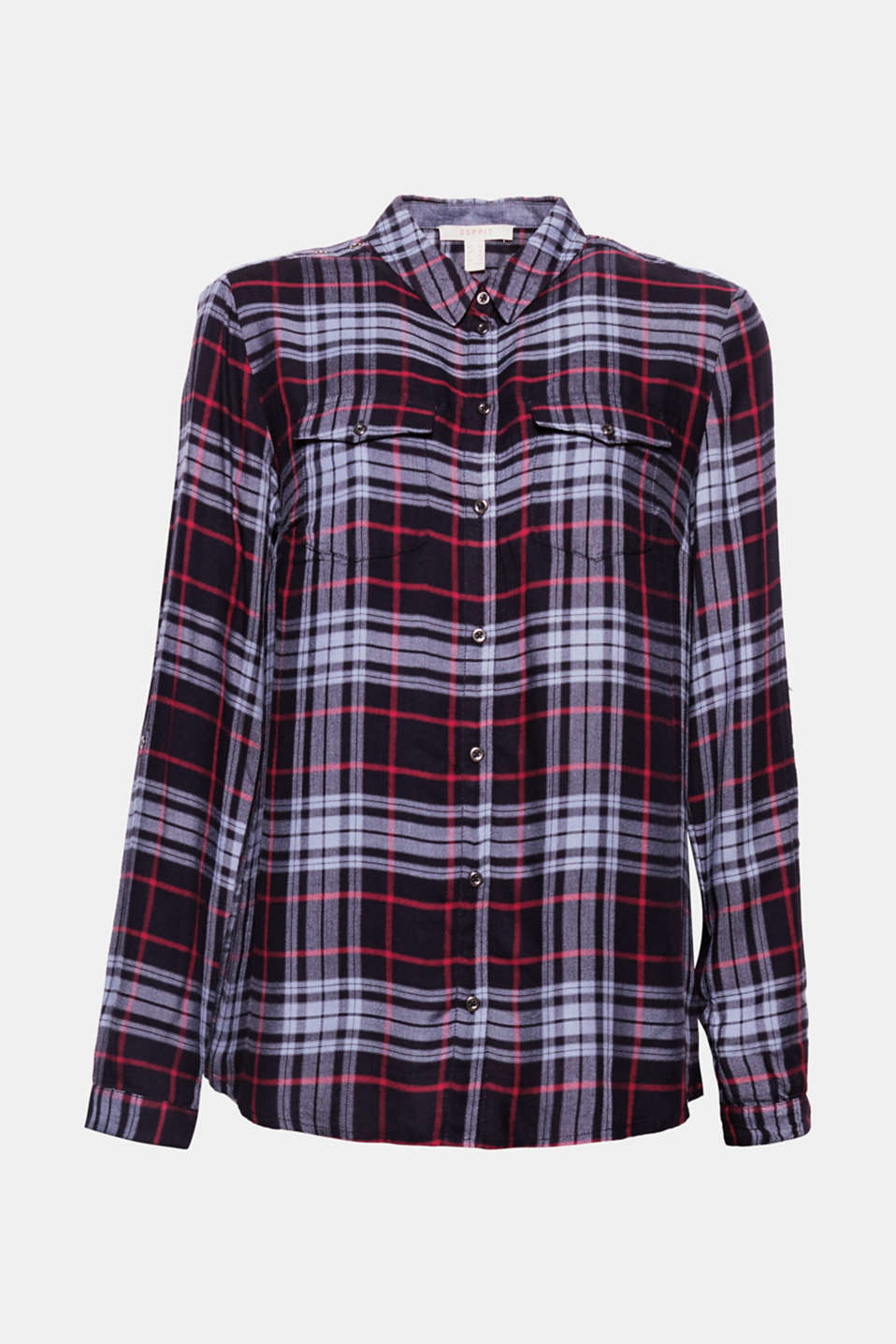 A real highlight piece to wear with jeans or cloth trousers, this loosely draped checked blouse features cool studs, turn-up sleeves and a laid-back silhouette.