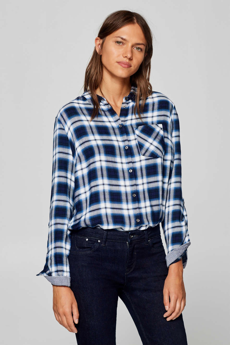 Esprit - Flannel shirt with sequin embellishments