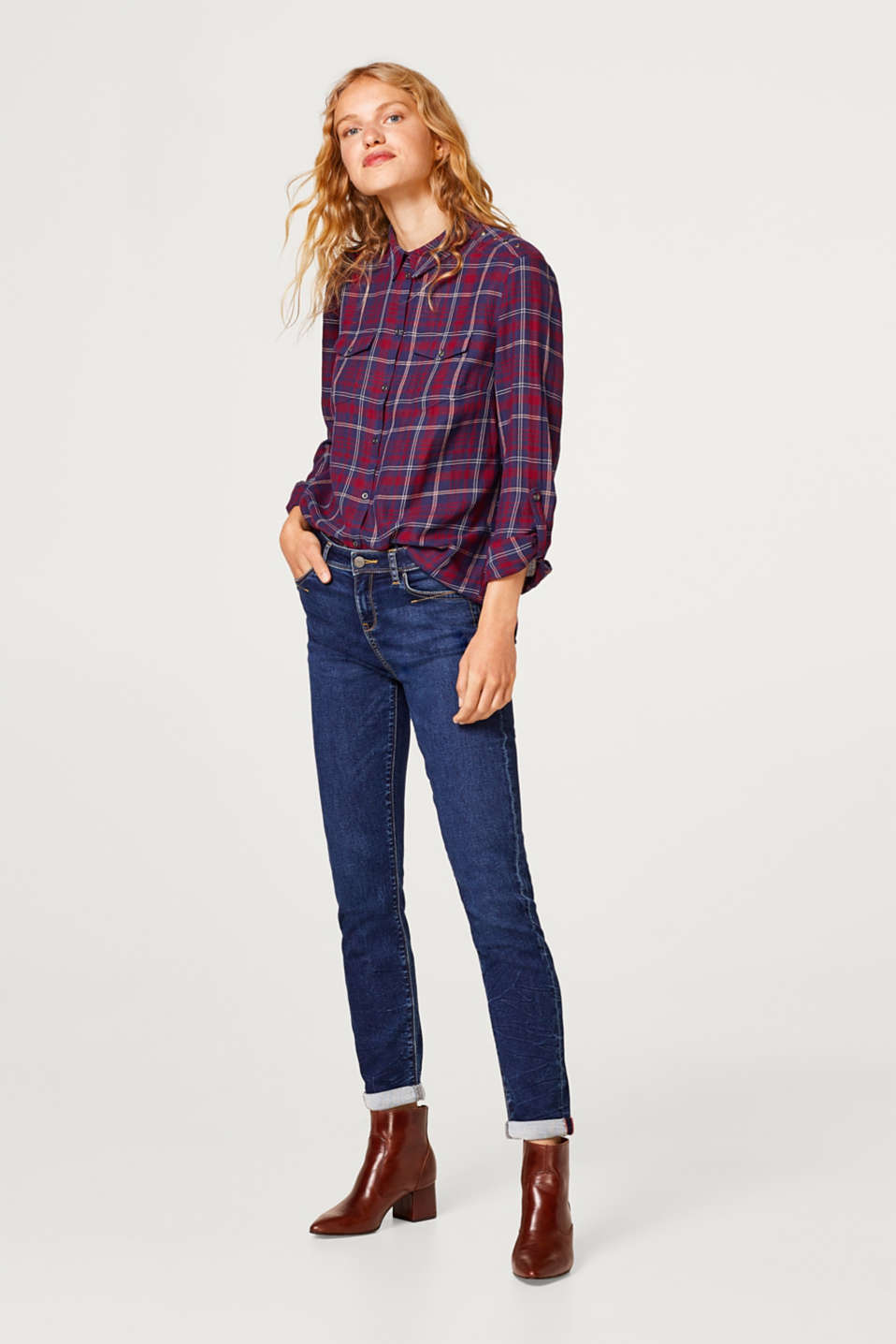 Flannel shirt with metal eyelets, 100% cotton