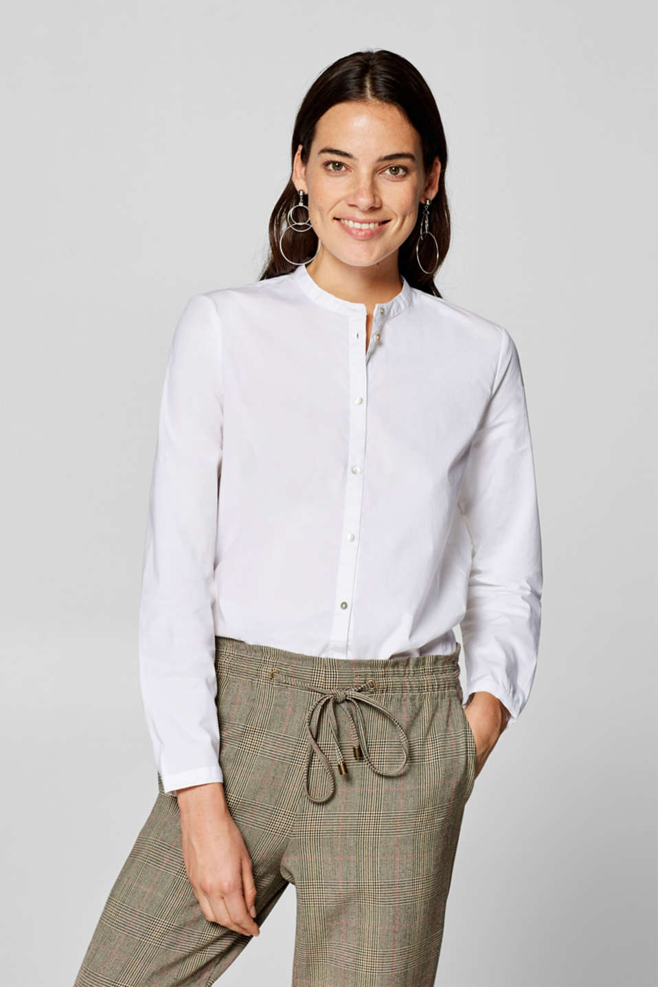 Esprit - Stretch cotton blouse with a band collar