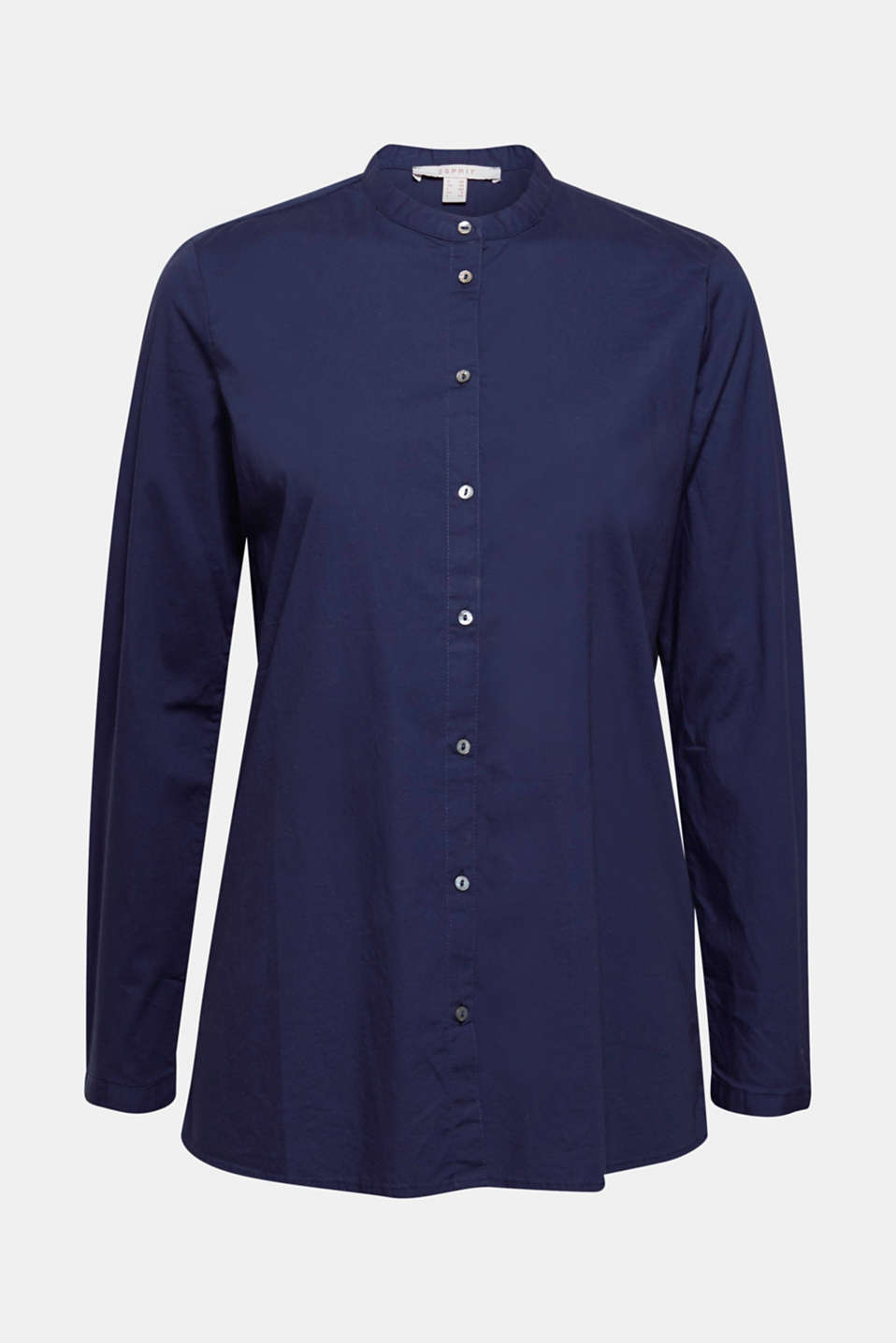 Clean, classic and modern, this straight-cut stretch cotton blouse features a small band collar for a unique look!