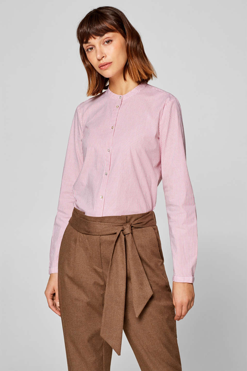 Esprit - Shirt blouse with a subtle stand-up collar, made from stretch cotton