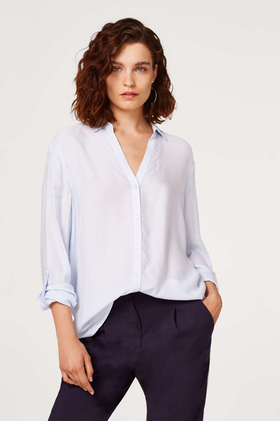 Esprit - Turn-up blouse with a woven texture