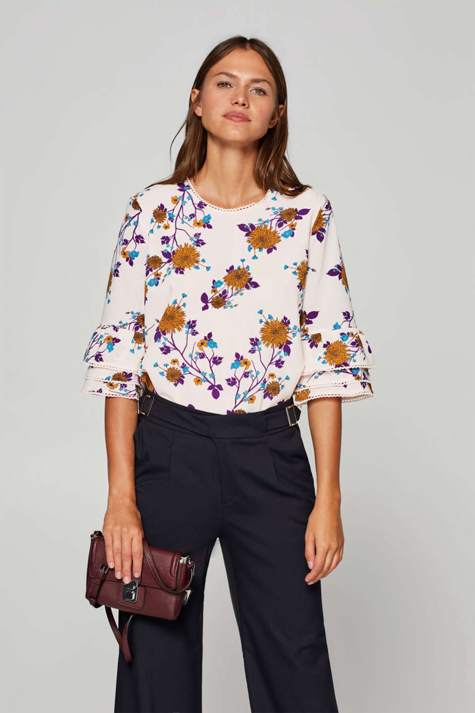 Esprit - Printed blouse with flounce sleeves