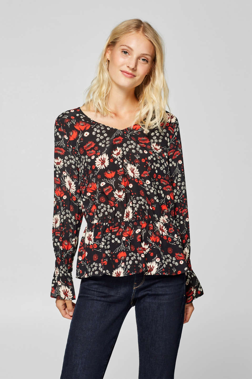 Esprit - Print blouse with a peplum