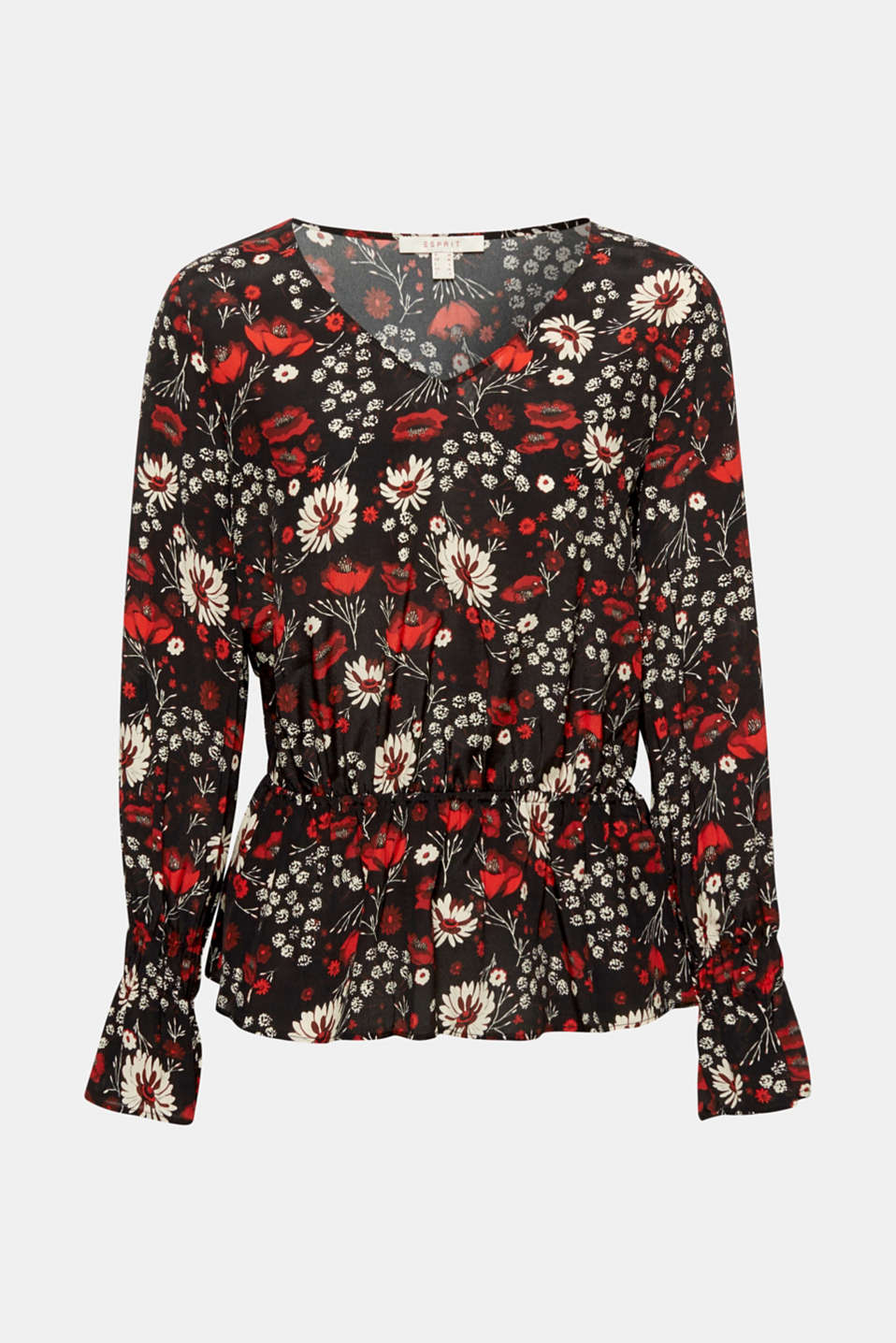 This flowing V-neck blouse with a decorative floral print, smocked balloon sleeves and a swirling peplum is perfect for your ultra-feminine, trendy look!