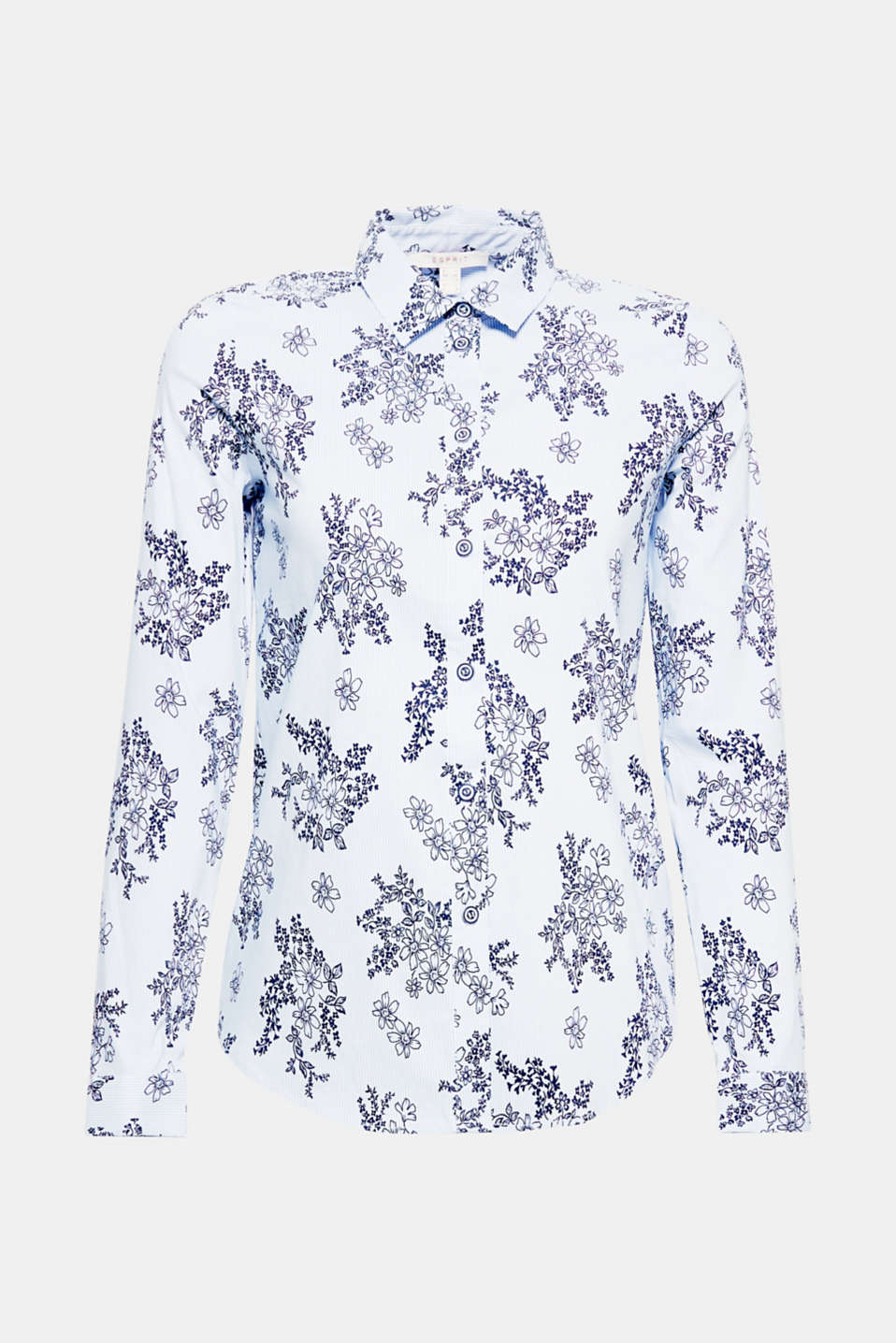 Fine stripes and delicate floral prints give this classic stretch blouse its modern flair!
