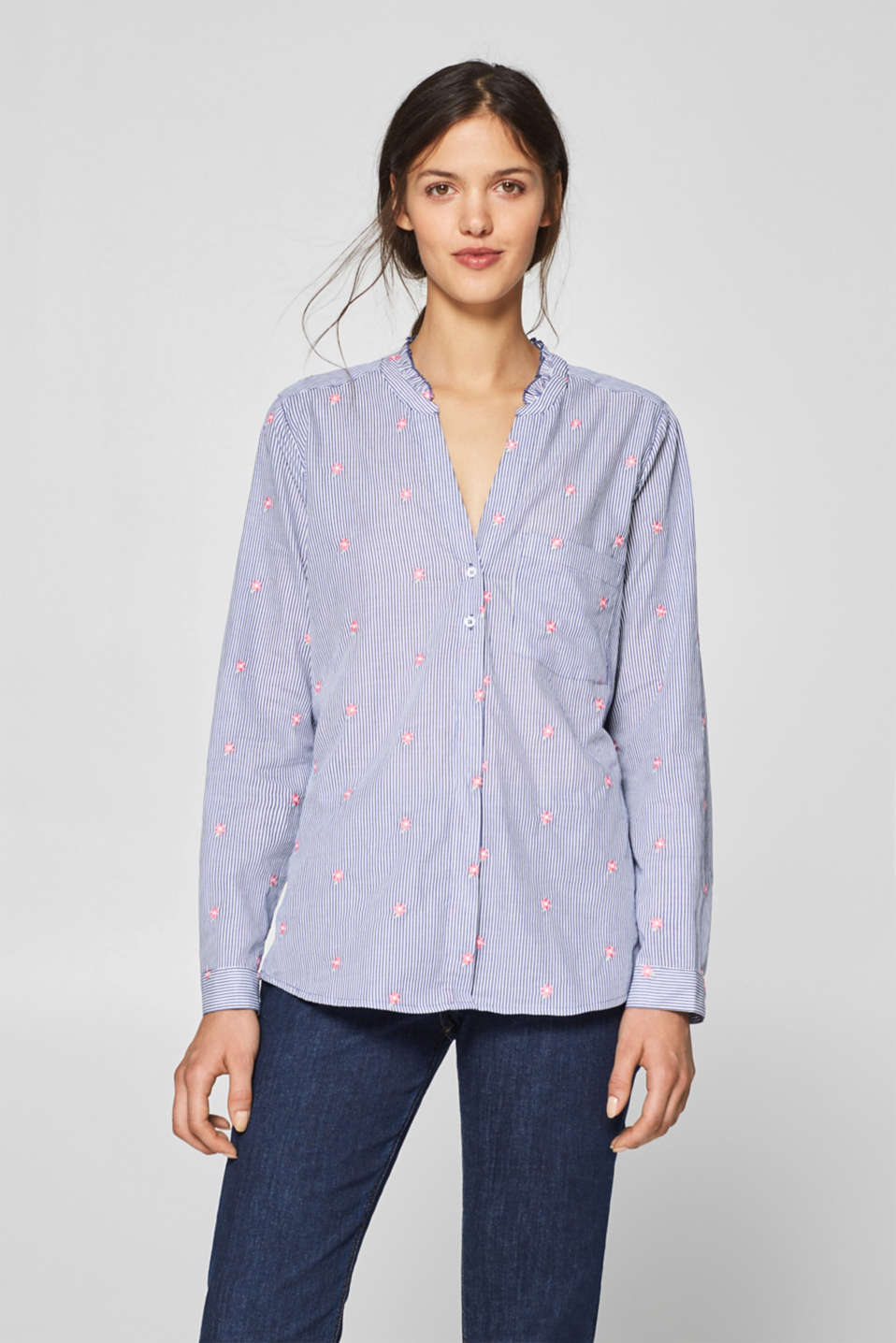 Esprit - Embroidered frilled blouse, 100% cotton