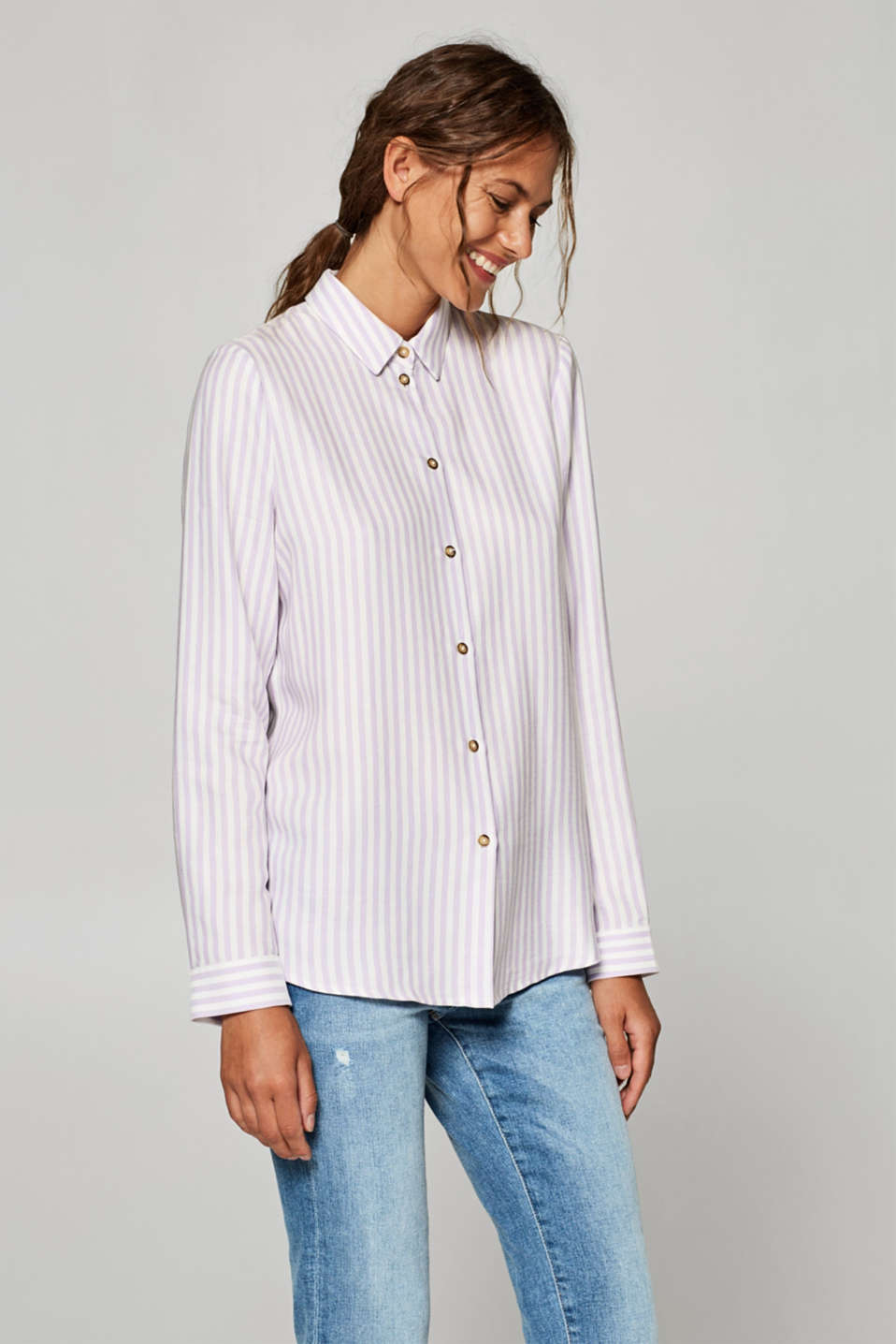 Esprit - Shirt blouse with vertical stripes