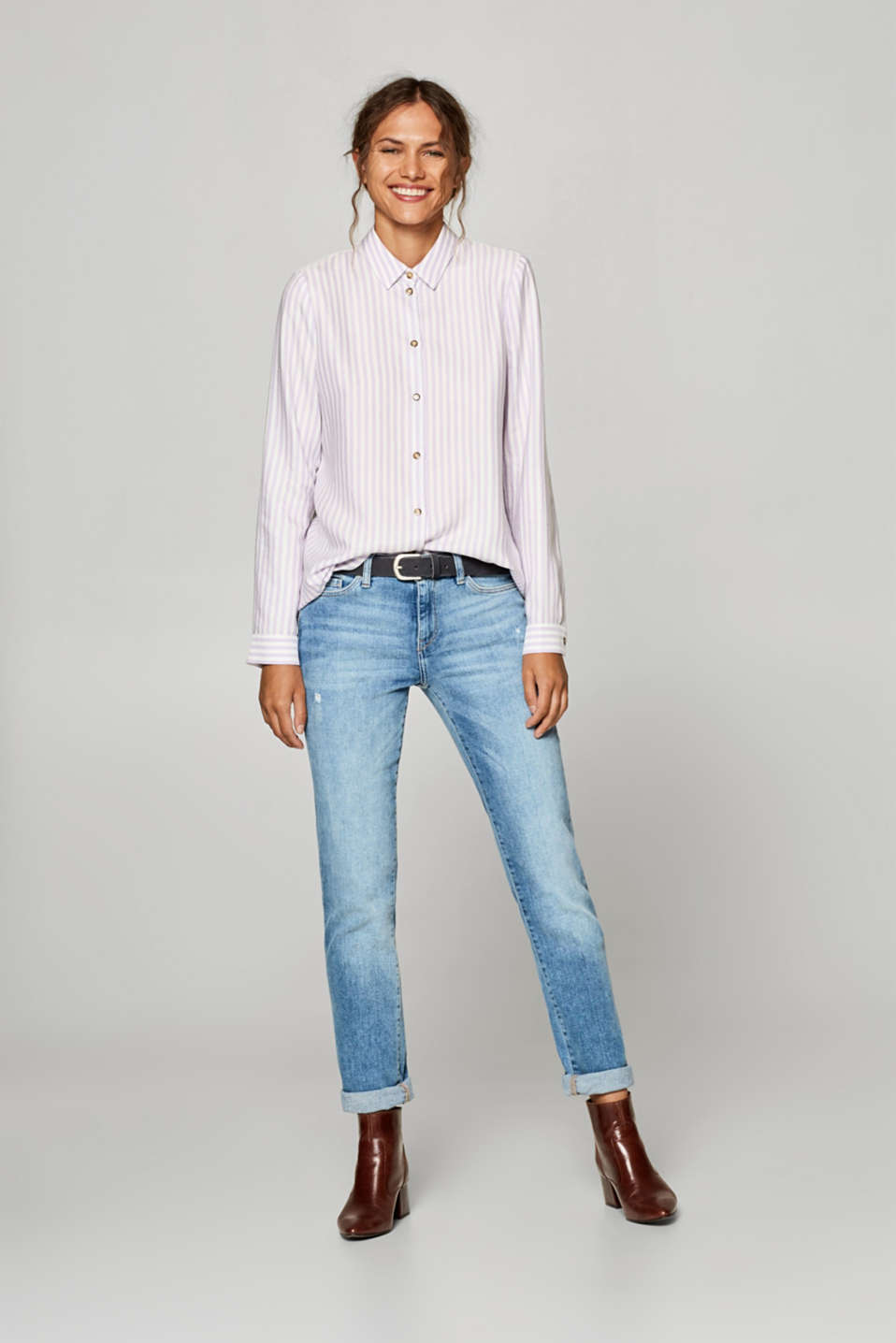 Shirt blouse with vertical stripes