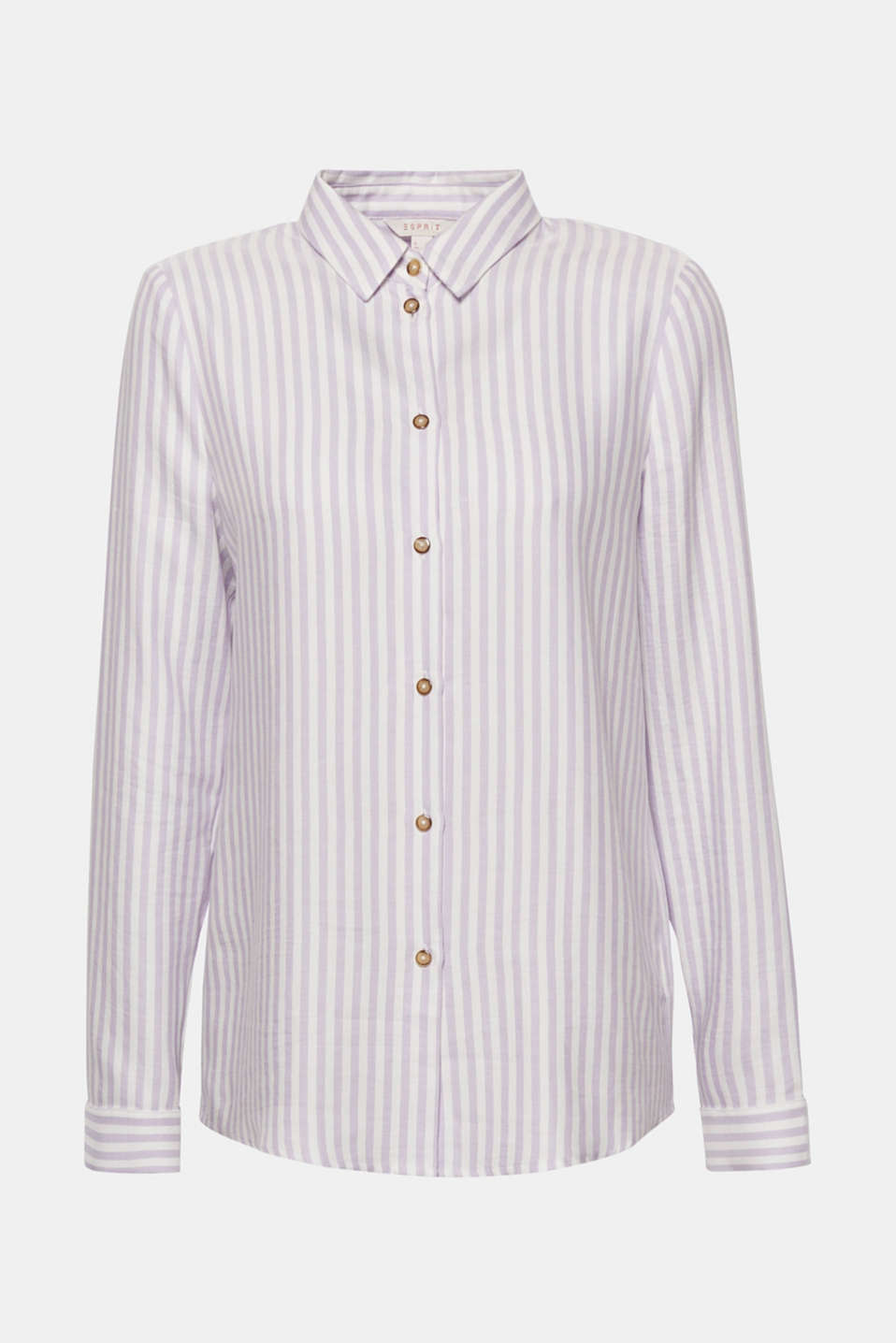 Casual favourite blouse in a shirt style: Fashionable vertical stripes and the softly draped fabric give this straight cut blouse a certain je ne sais quoi!