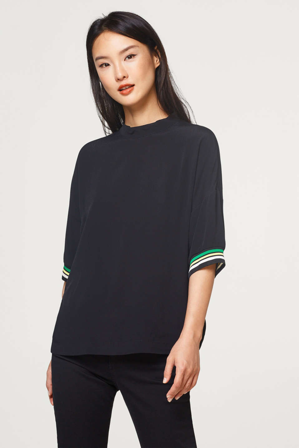 Esprit - Crêpe blouse top with ribbed borders