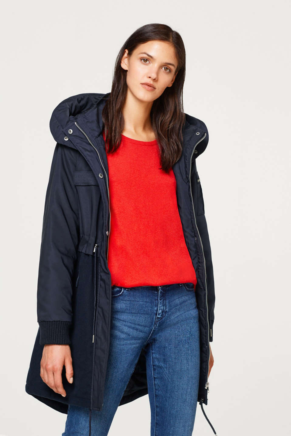 Esprit - Padded parka in nylon and fleece