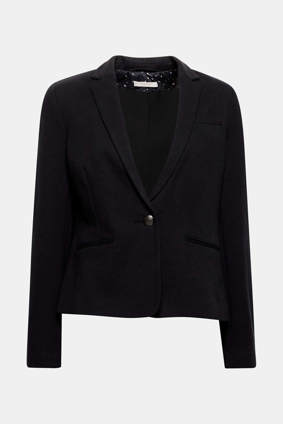 Works with business trousers or skinny jeans: this fitted blazer in comfortable stretch jersey is the ideal companion for various occasions!