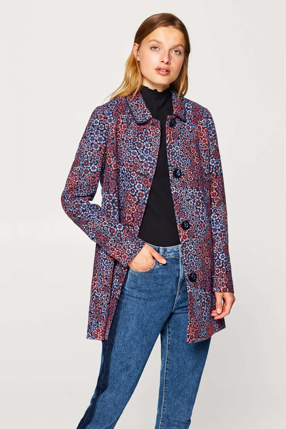 Esprit - Jacquard coat with sporty pockets