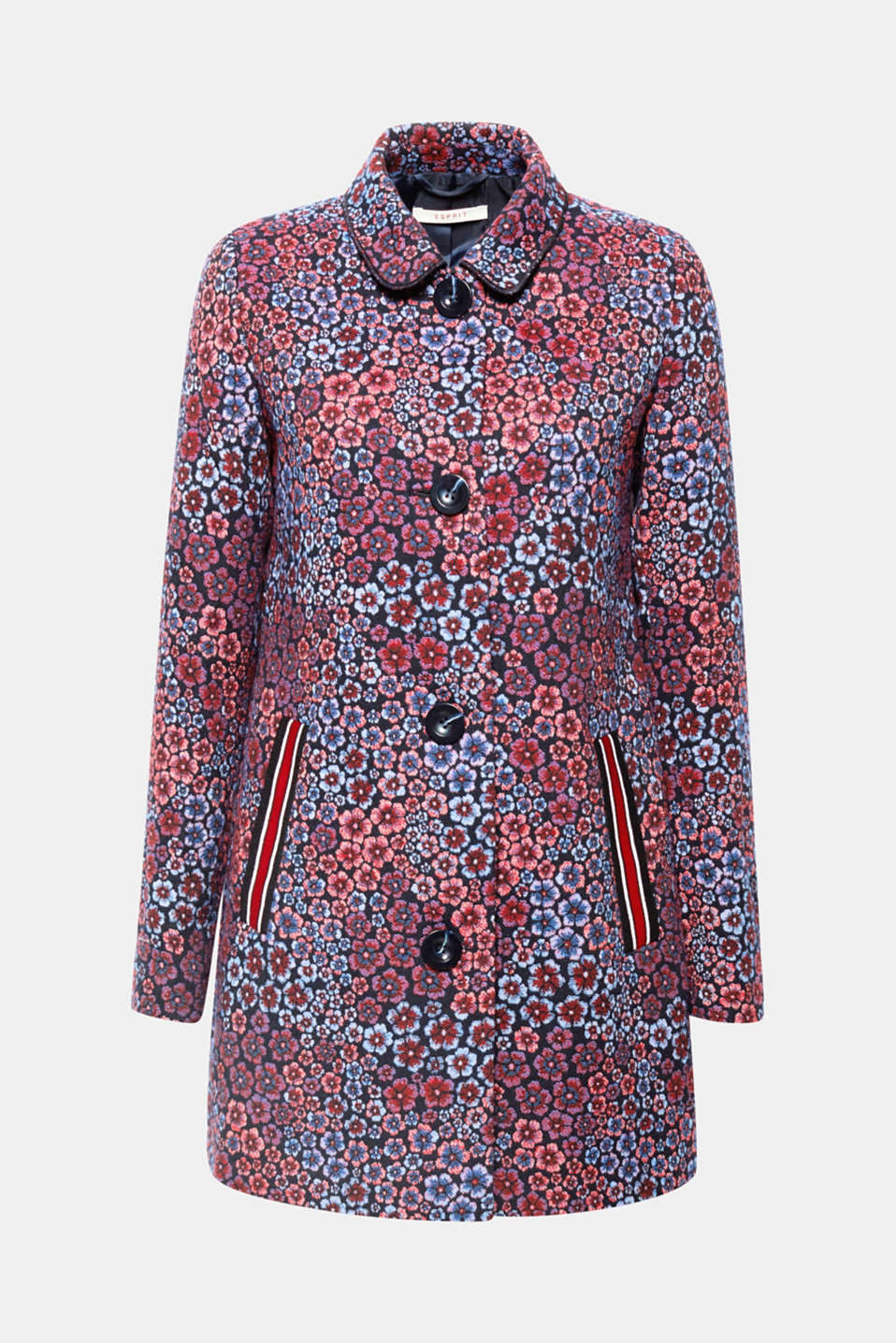 Spice up your look with this stand-out coat featuring jacquard flowers and slit pockets with sporty details!