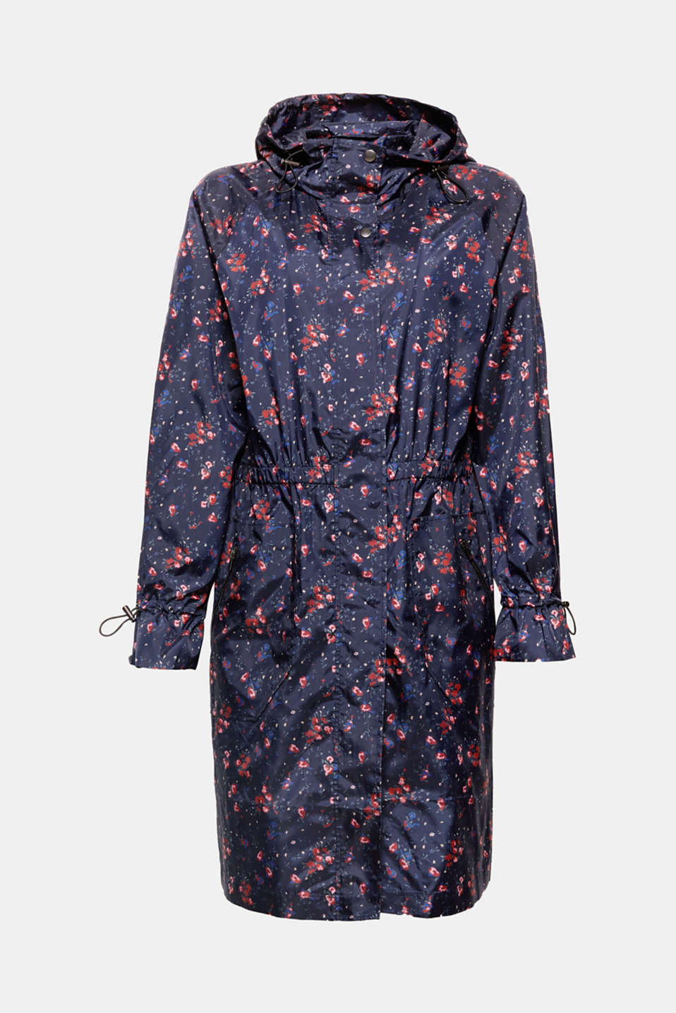 For those short showers or to pep up your outfit: super-lightweight, unlined long parka in smooth nylon with a pretty floral print, hood and stretchy waist trim!