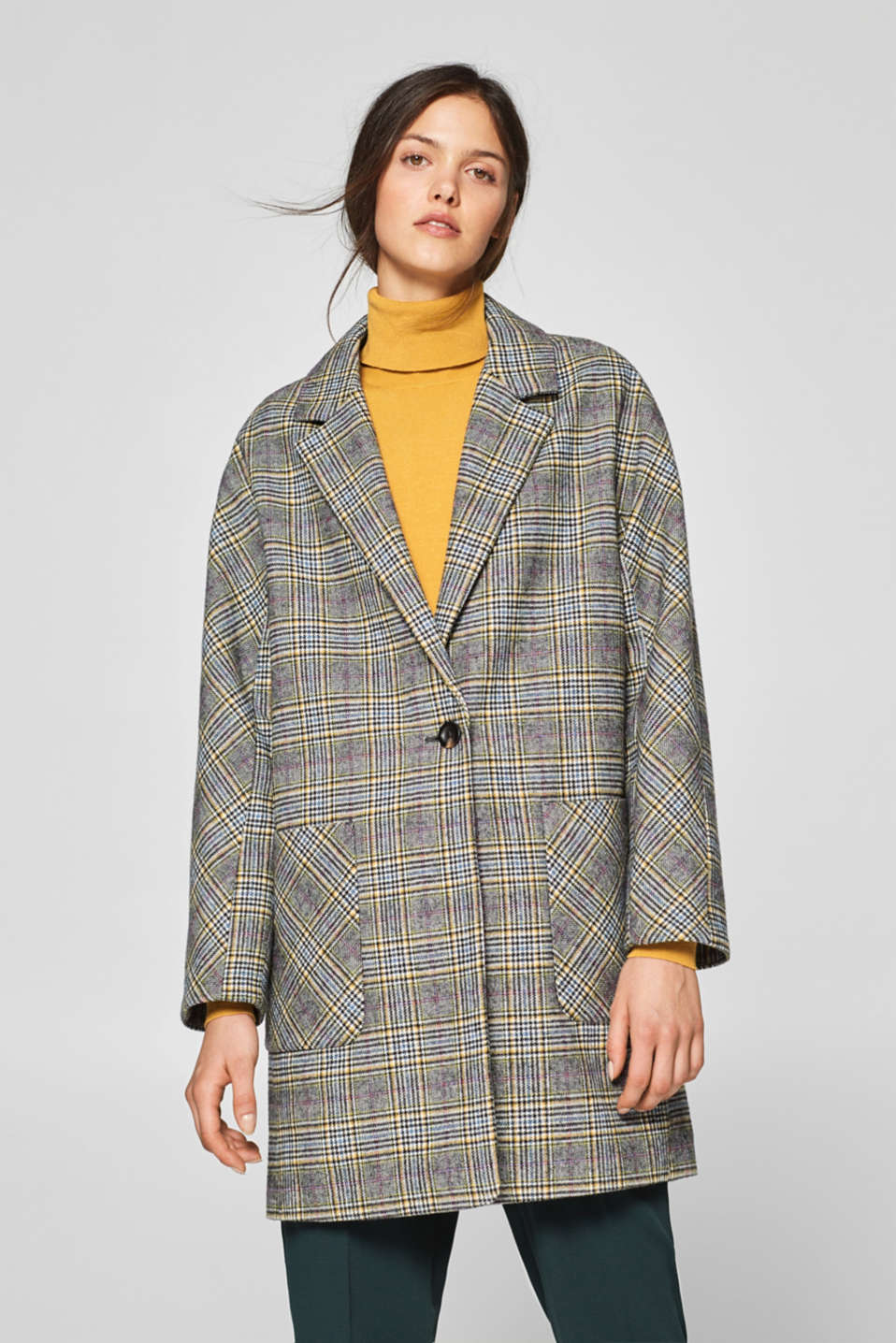 Esprit - Modern Prince of Wales check coat in a wool blend