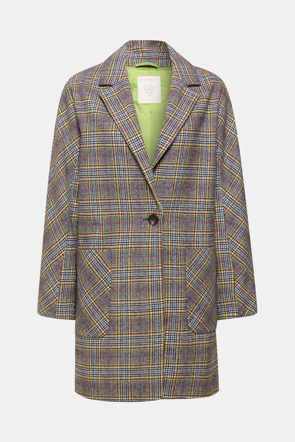 This casually cut, oversize coat made of a warming wool blend with a colourful, Prince of Wales check pattern and large pockets is a redesigned replica of an all-time classic!