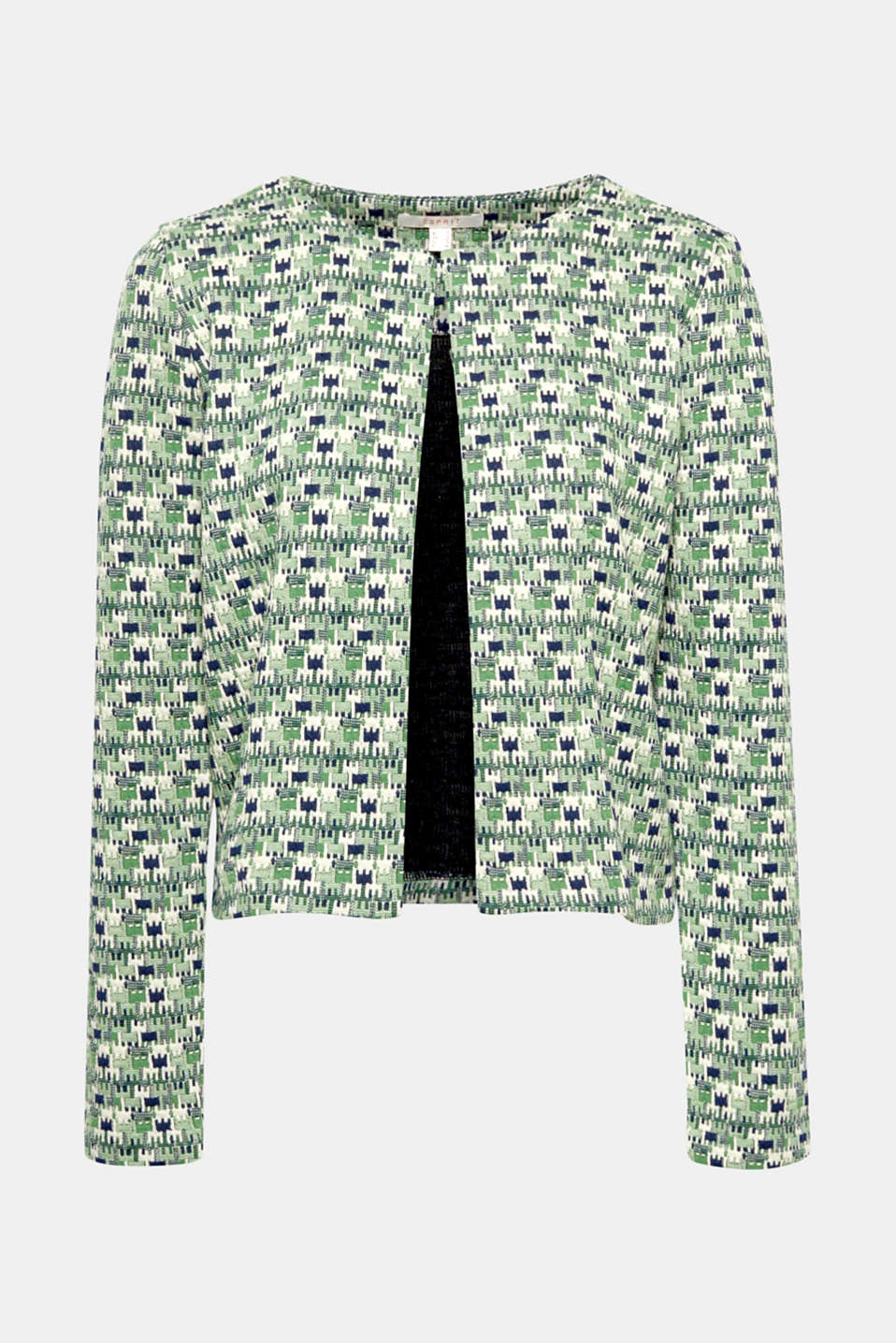 Chic cut, comfy jersey: the decorative, puzzle-effect jacquard pattern makes this short, open cardigan something special!