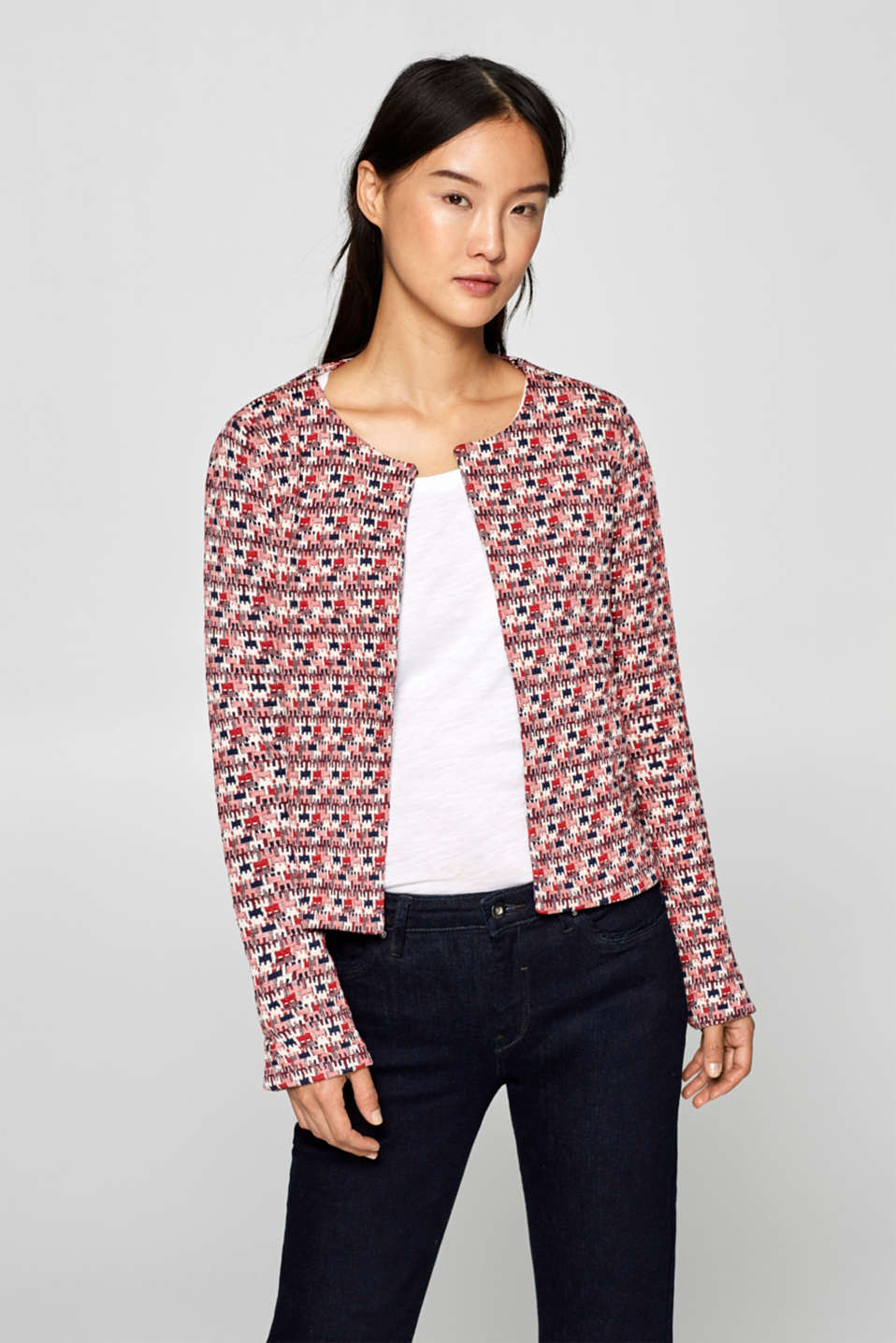 Esprit - Stretch jersey cardigan with a jacquard puzzle pattern