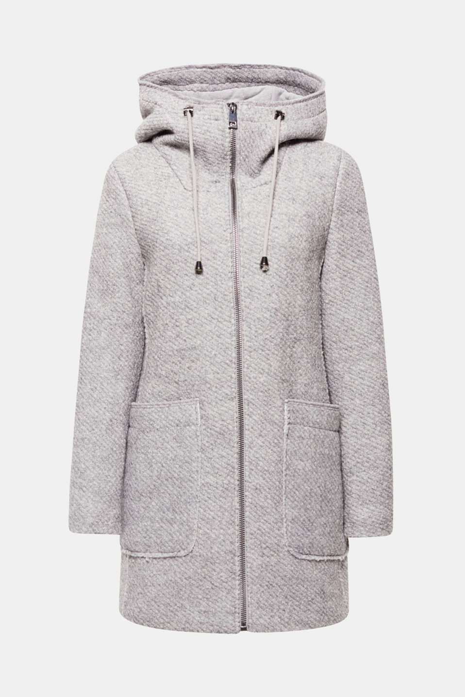 Sensationally sporty and wonderfully warming: the textured, lightly curled outer surface rounds off the look of this coat finished with a hood, centre zip and large patch pockets!