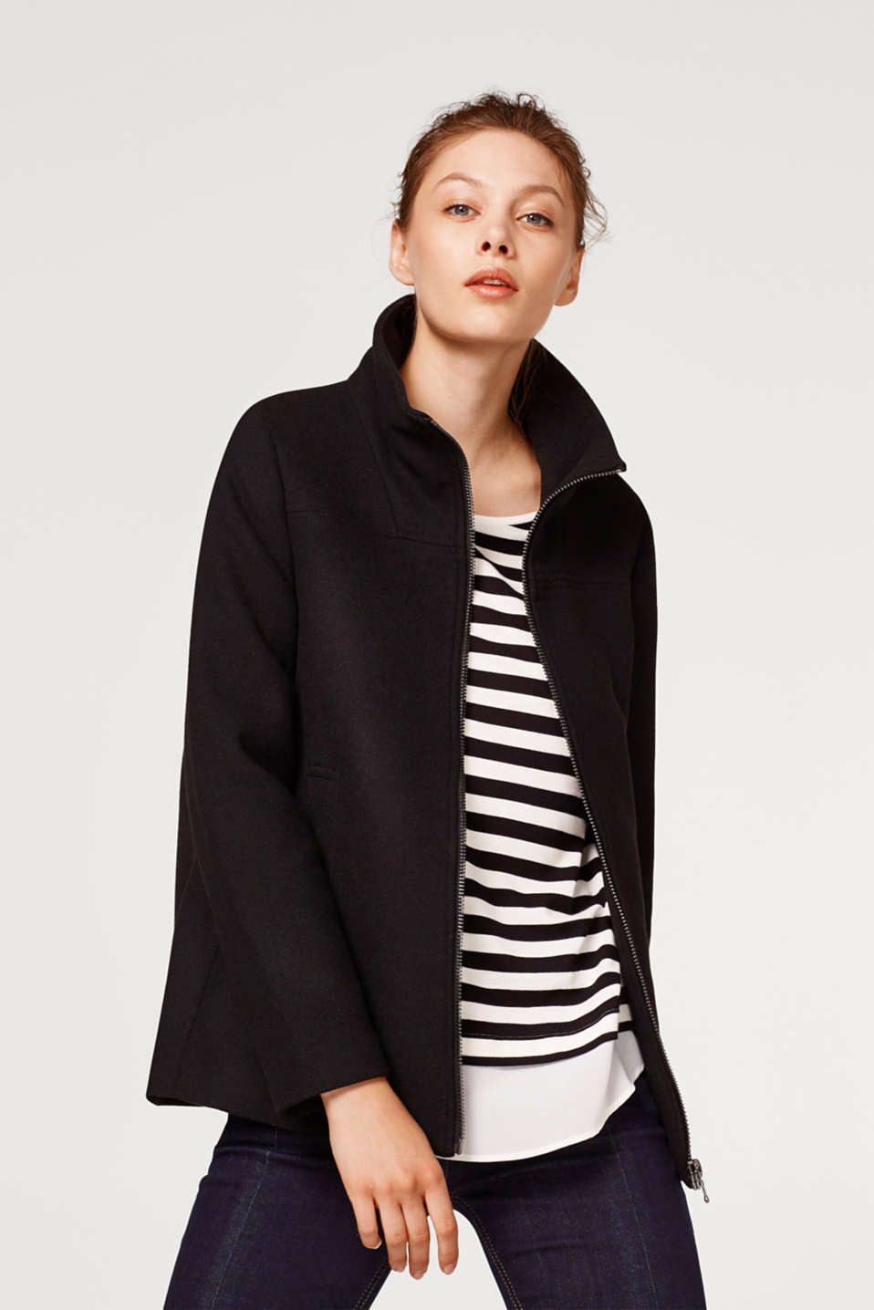 Esprit - Made of blended wool: A-line zip jacket