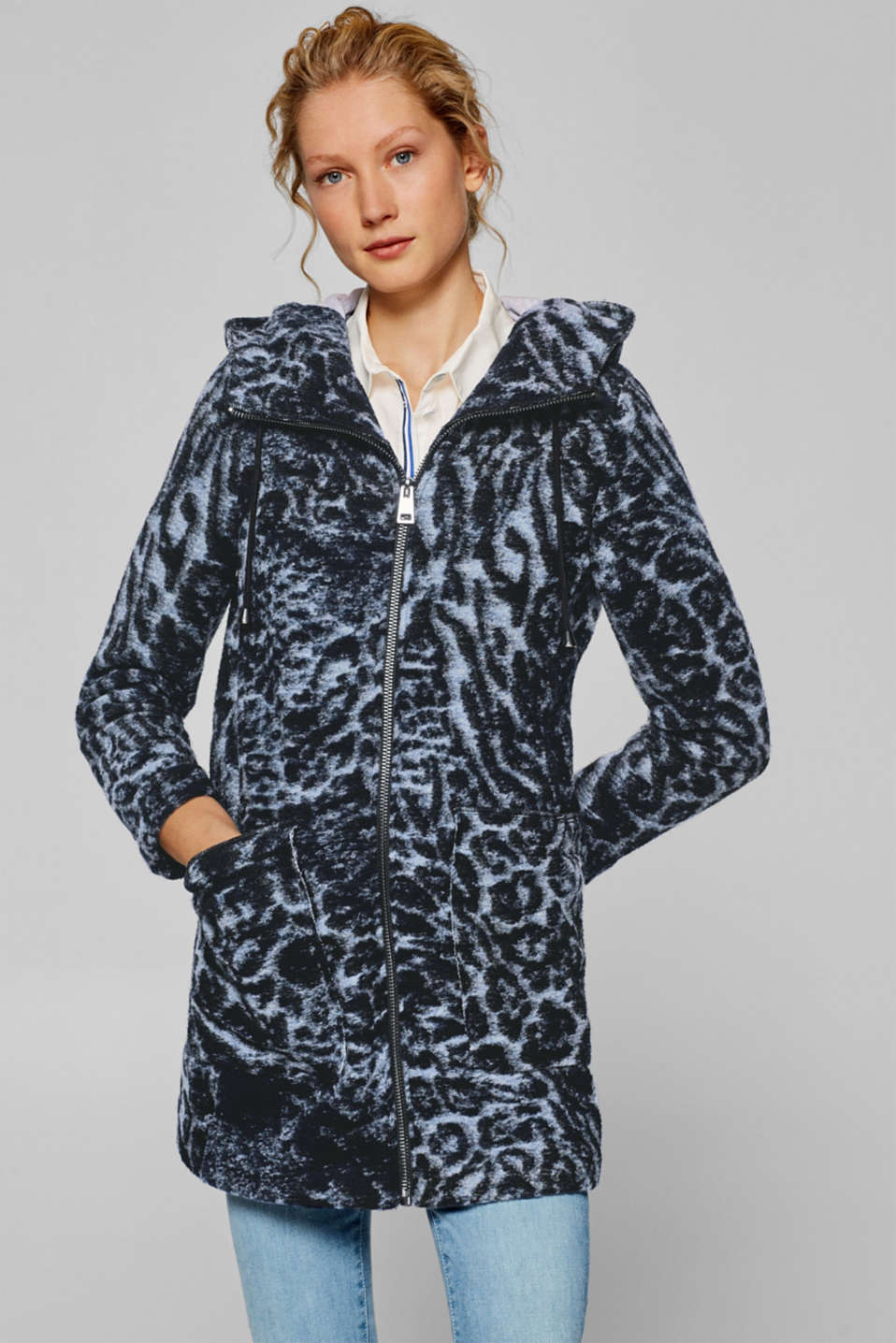 Esprit - Made of blended wool: hooded jacket with leopard print