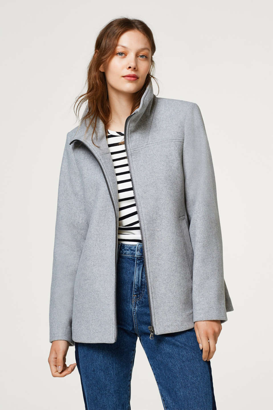 Esprit - Made of blended wool: zip-up jacket with a stand-up collar