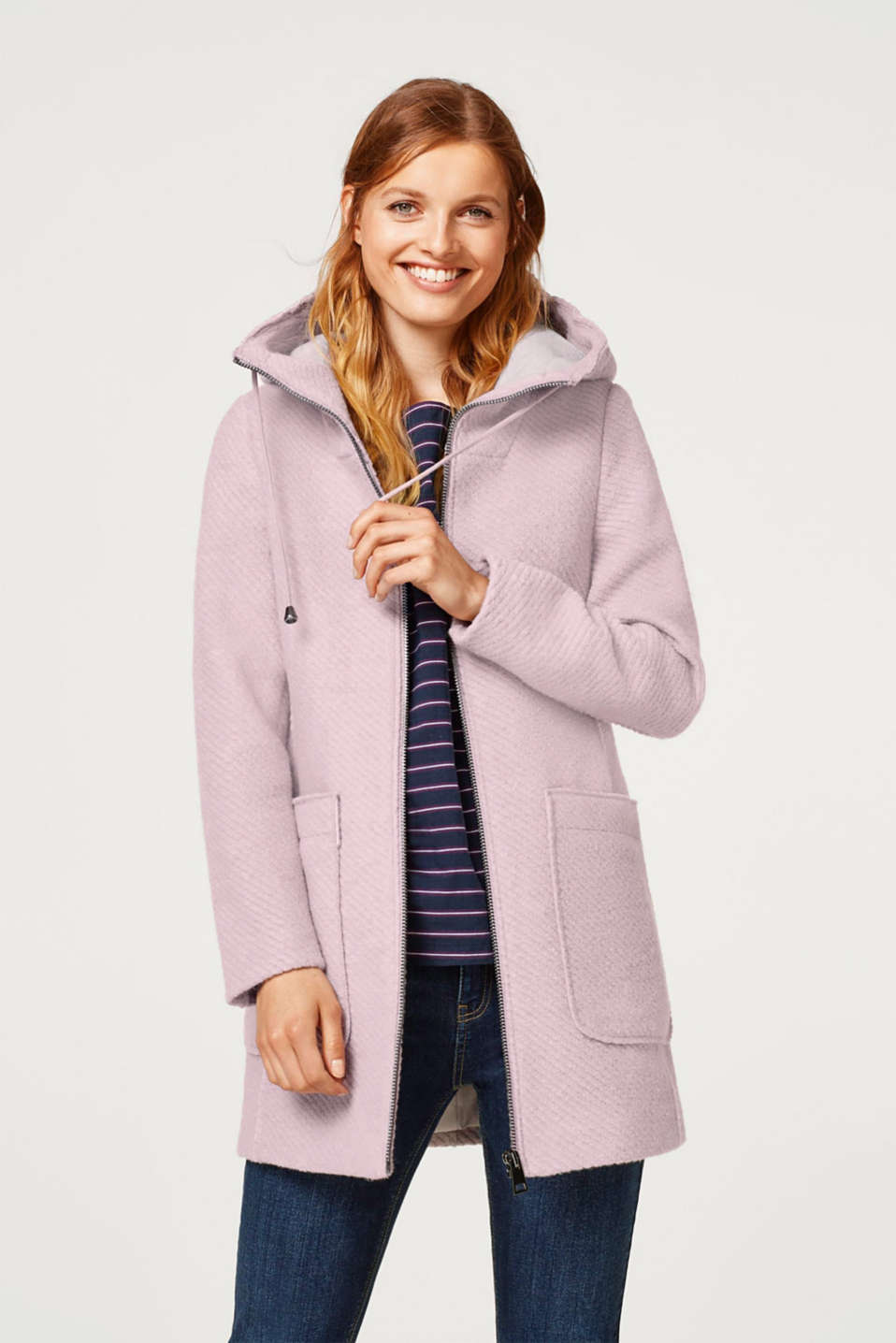 Esprit - Hooded jacket in blended wool