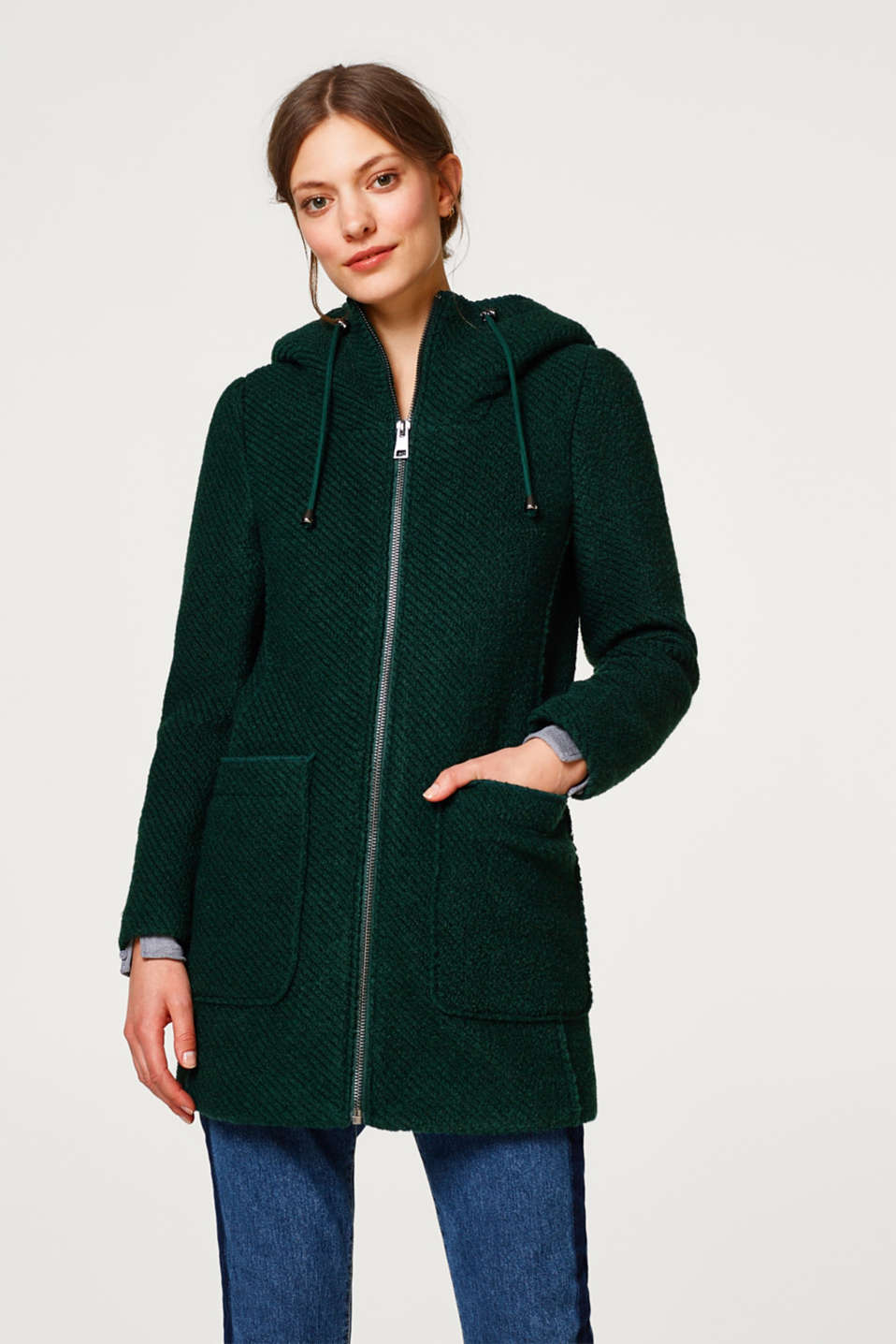Esprit - Made of blended wool: zip-up hooded coat