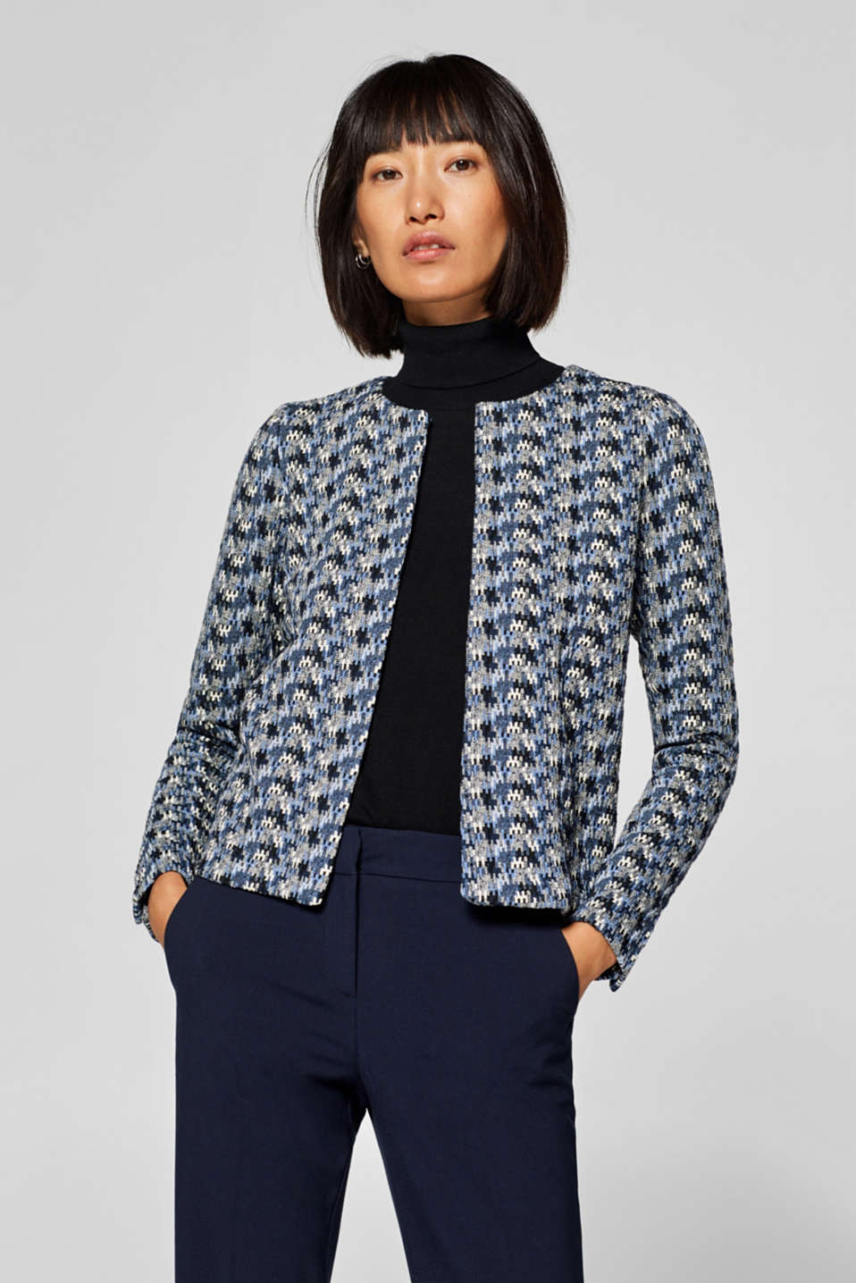 Esprit - Stretch jersey cardigan with a jacquard pattern