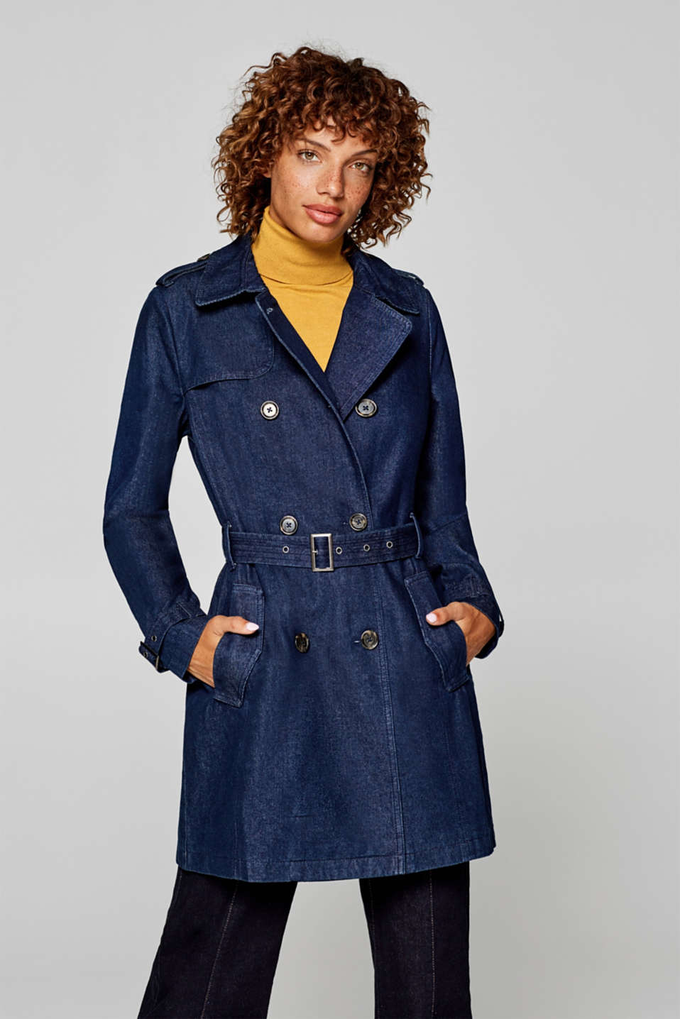 Esprit - Double-breasted trench coat in dark denim