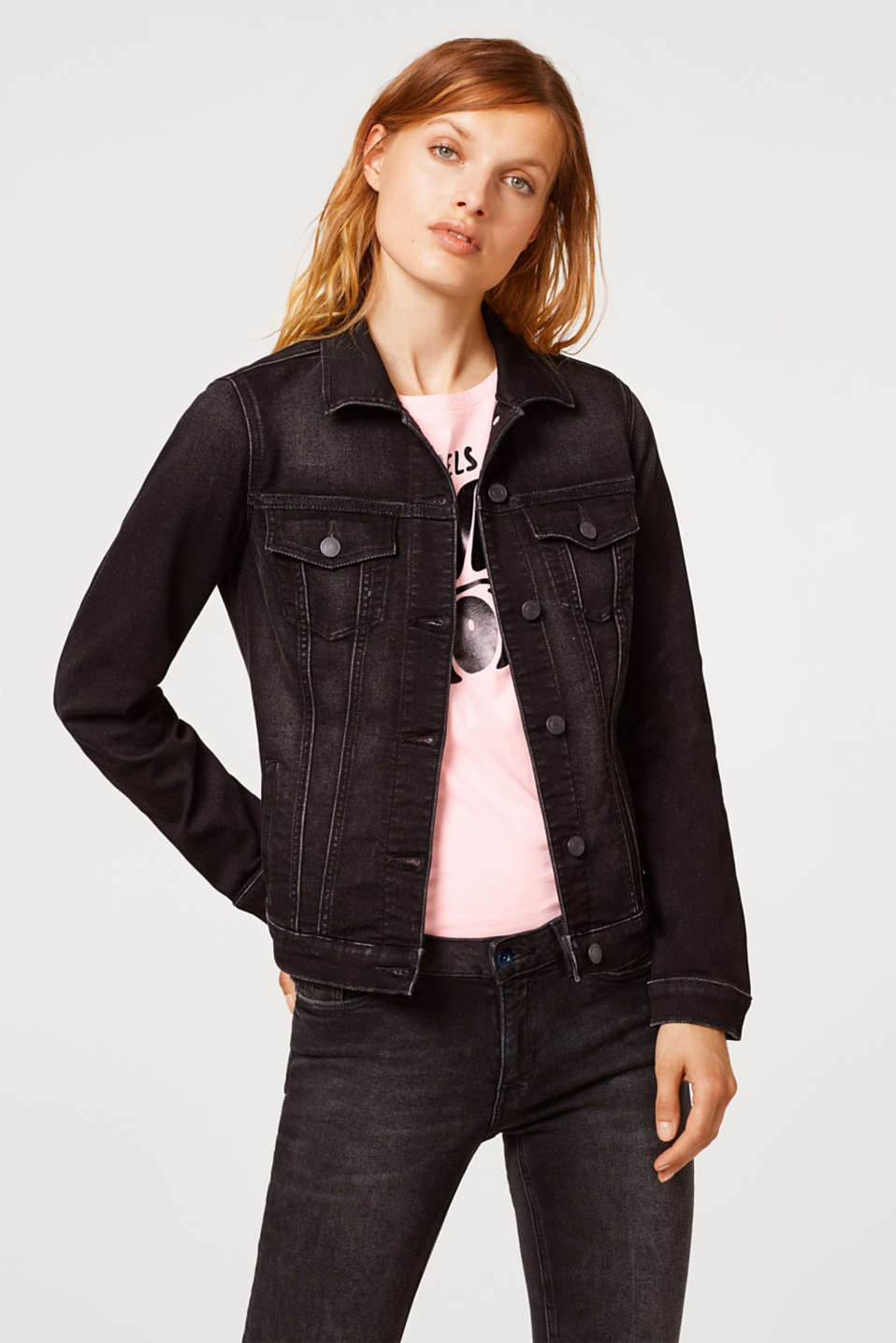 Esprit - Stretch denim jacket in tracksuit fabric