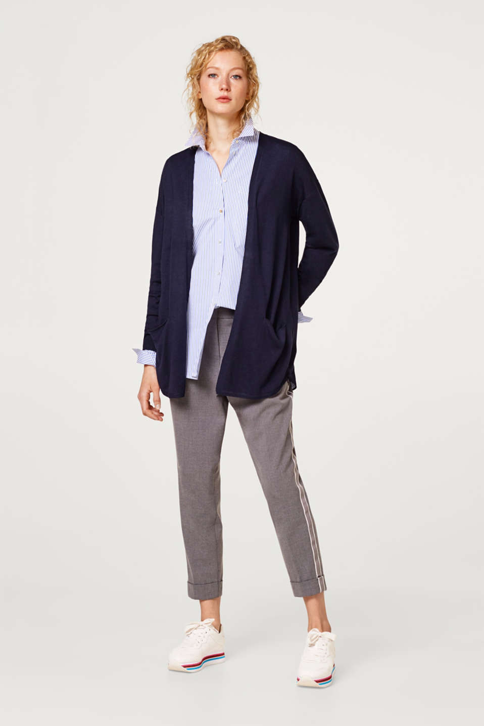 Open-fronted soft knit cardigan