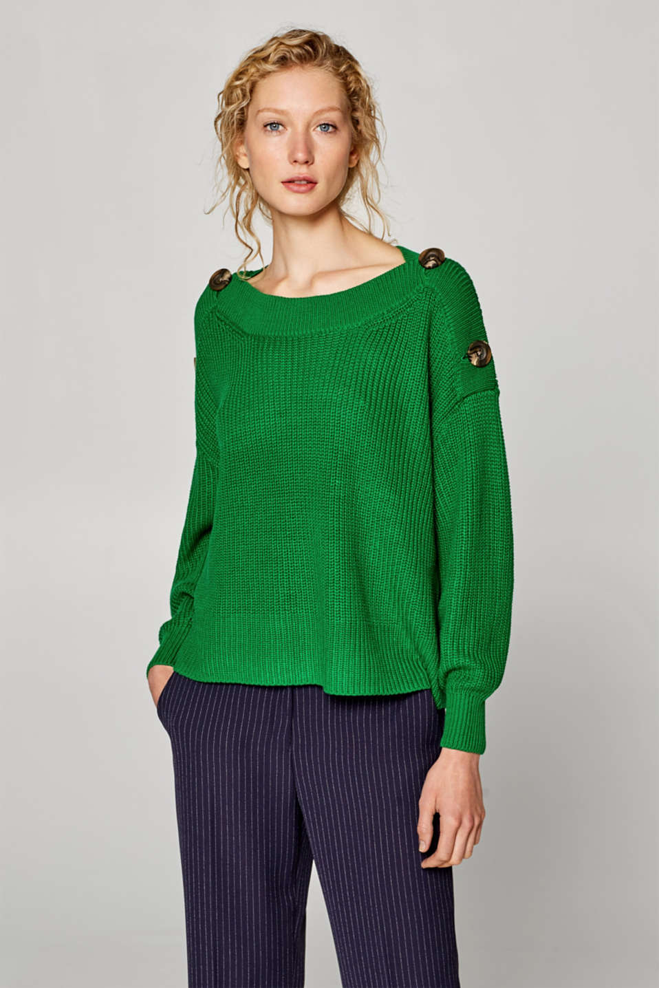 Esprit - Boxy jumper with button-fastening shoulders