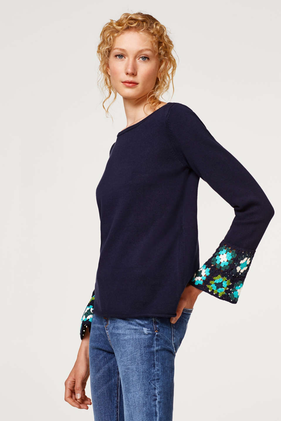 Esprit - Jumper with crocheted details, 100% cotton