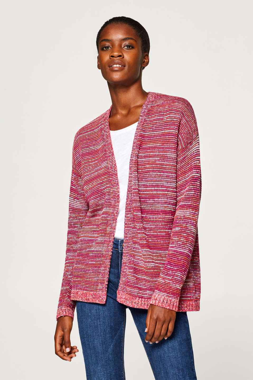 Esprit - Open multi-coloured cardigan, 100% cotton