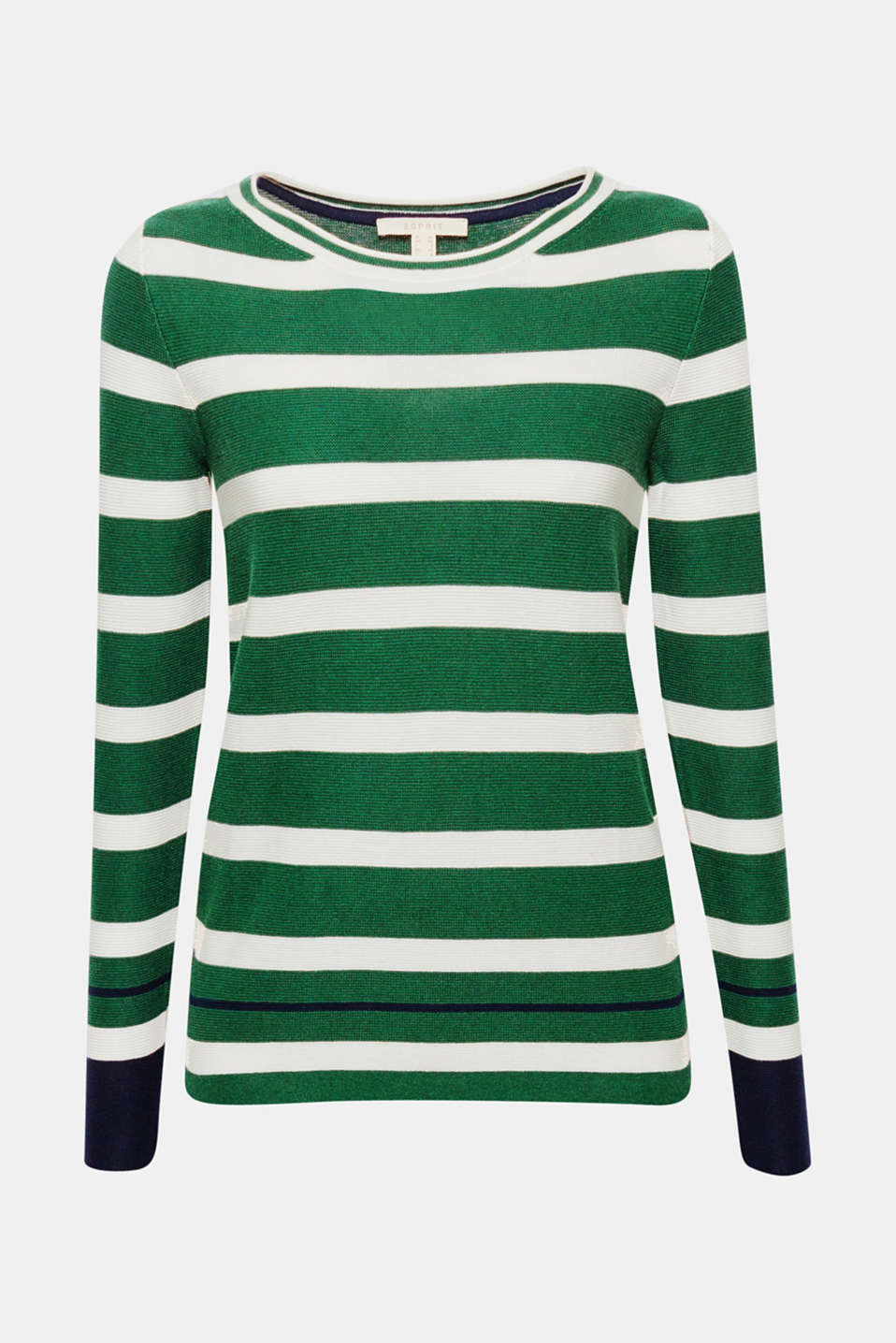 Contrasting colour accents give this finely textured, cotton jumper a new, nautical look!