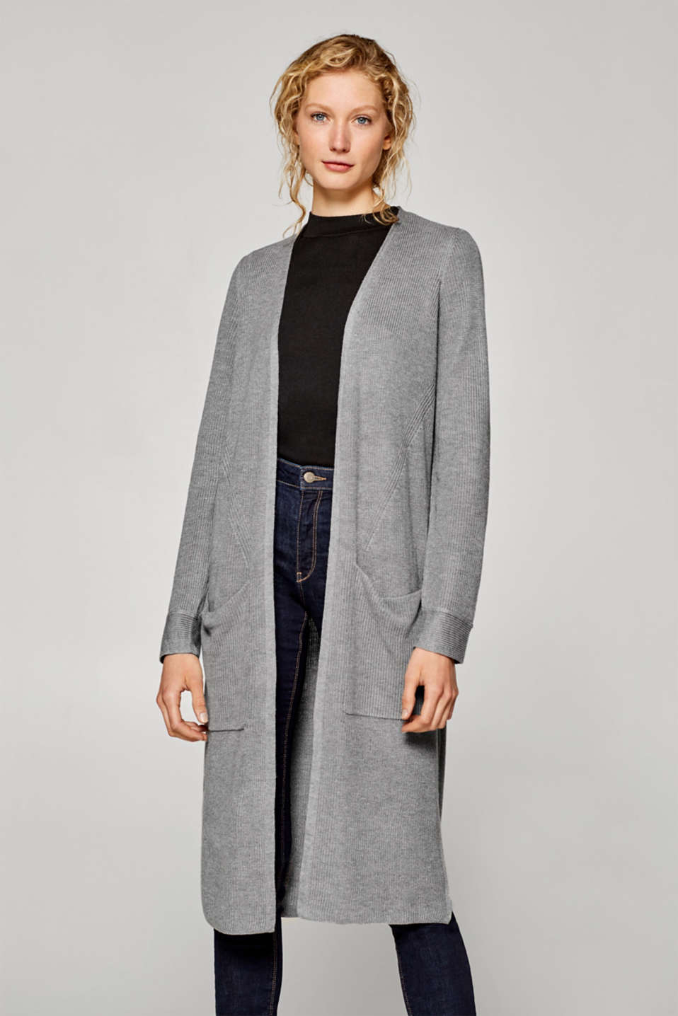 Esprit - Long cardigan with patch pockets