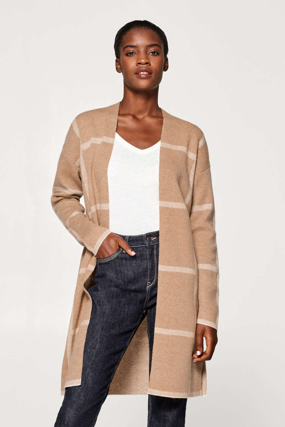Esprit - With wool: long cardigan with a check pattern