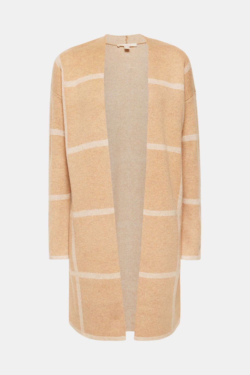 The large check pattern and the open-fronted style make this warm long cardigan with wool a great companion for the new season!