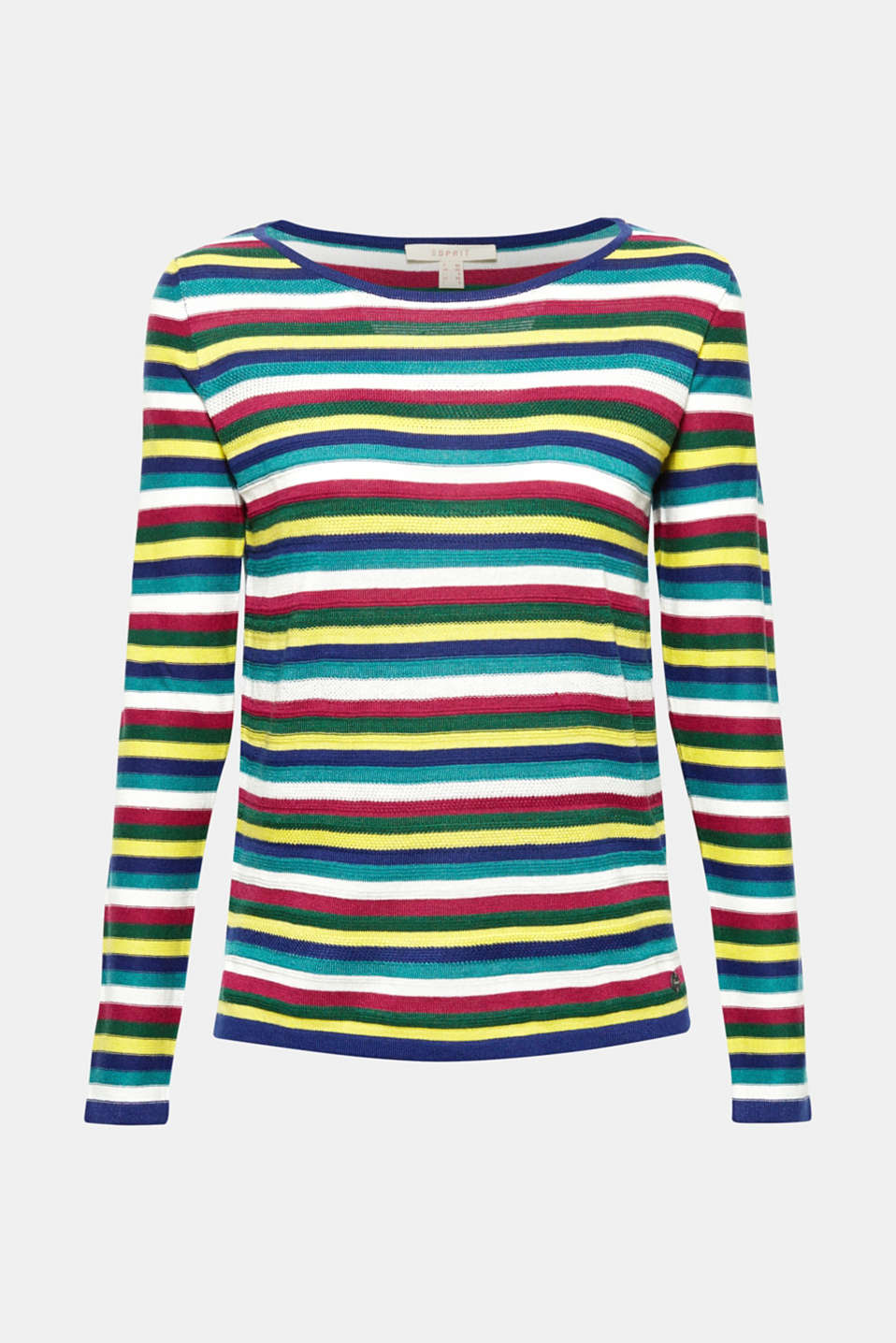 This feel-good jumper is wonderfully lightweight and soft, comes in vibrant colours and features fine, textured stripes!