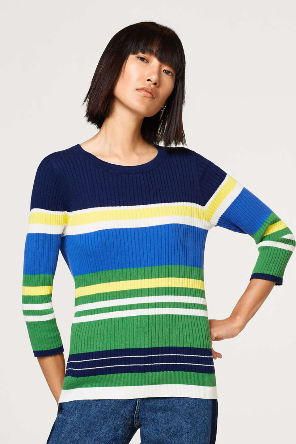 Esprit - Ribbed jumper with stripes, 100% cotton